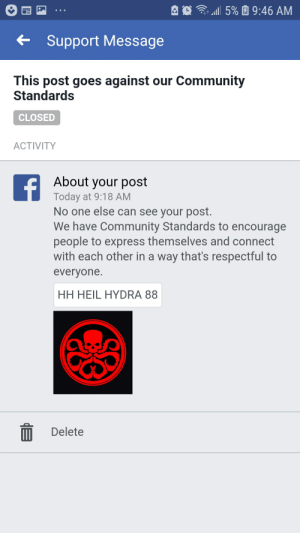 Community, Facebook, and Marvel Comics: l 5%  9:46 AM  Support Message  This post goes against our Community  Standards  CLOSED  ACTIVITY  f  About your post  Today at 9:18 AM  No one else can see your post.  We have Community Standards to encourage  people to express themselves and connect  with each other in a way that's respectful to  everyone  HH HEIL HYDRA 88  Delete Thou shalt not heil hydra on Facebook