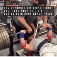 Sensational, Sports, and Bench Pressed: L. 60435  br  TO M RECORDED HIS FIRST STUNT  LAST YEAR WHEN HE DID A  50 0 LB BEER BONG BENCH PRESS He pregames harder than you party @huckfinnbarbell became a sensation by combining two things he's good at: drinking beer & lifting weights