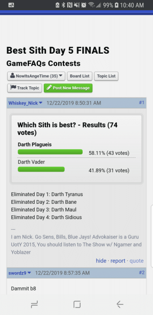 L 99 1040 Am Best Sith Day 5 Finals Gamefaqs Contests Nowltsange