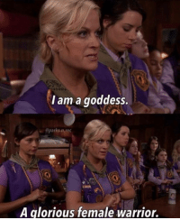 Mood, Tumblr, and Blog: l am a goddess  @parks.n.rec  RA  A glorious female warrior. makerswomen:  a MOOD today as we watch this historic class of women being sworn into Congress. 👏👏👏