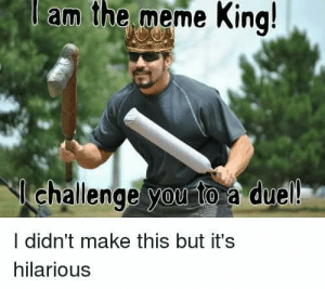 AHhahaha 🤣😂: l  am  the  meme  King!  challenge you to a duel  I didn't make this but it's  hilarious AHhahaha 🤣😂