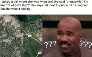 "Dank, Lol, and Memes: l asked a girl where she was living and she said ""orangeville."" i'm  like ""lol where's that?"" she says ""idk next to purple hill."" i laughed  but she wasn't Kidding  5 13  Purple Hill  10  Urangevillea  109 so this happened to me by Arsepick MORE MEMES"