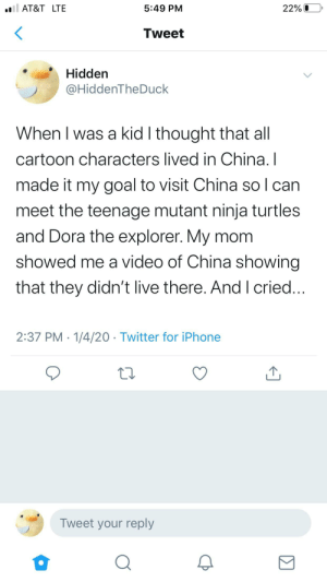 Iq:10000: l AT&T LTE  5:49 PM  22% 0  Tweet  Hidden  @HiddenTheDuck  When I was a kid I thought that all  cartoon characters lived in China. I  made it my goal to visit China so I can  meet the teenage mutant ninja turtles  and Dora the explorer. My mom  showed me a video of China showing  that they didn't live there. And I cried...  2:37 PM · 1/4/20 · Twitter for iPhone  Tweet your reply Iq:10000