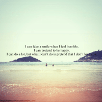 pretend to be happy: l can fake a smile when l feel horrible  I can pretend to be happy  I can do a lot, but what I can't do is pretend that I don't l  ou.  http://nancaysofancaay.tumblr.com/