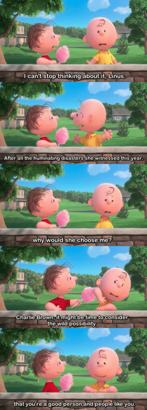 Charlie, Target, and Tumblr: l canit stop thinking about it, Linus   After all the humiliating disasters she witnessed this year   why would she choose me?   Charlie Brown, it might be time to consider  the wild possibility   hat youre a good person and people like you eggpuffs: THE PEANUTS MOVIE MADE ME CRY