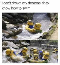 Memes, How To, and 🤖: l can't drown my demons, they  know how to swim 😂😂 @cabbagecatmemes