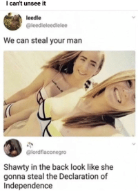 Anaconda, Memes, and Declaration of Independence: l can't unsee it  leedle  @leedleleedlelee  We can steal your man  @lordflaconegro  Shawty in the back look like she  gonna steal the Declaration of  Independence Destruction 100 via /r/memes http://bit.ly/2AQwXsa