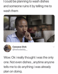 Memes, Wow, and Dick: l could be planning to wash dishes  and someone ruins it by telling me to  wash them  Cassava Dick  @hellodaddy  Wow. Ok i really thought i was the only  one. Not even dishes, anytime anyone  tells me to do anything i was already  plan on doing 🤔😂