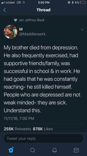 Died From: l cricket LTE  5:00 PM  Thread  Ian Jeffrey liked  @Maddierawrk  My brother died from depression  He also frequently exercised, had  supportive friends/family, was  successful in school & in work. He  had goals that he was constantly  reaching- he still killed himself.  People who are depressed are not  weak minded- they are sick.  Understand this  11/11/18, 7:00 PM  255K Retweets 878K Likes  Tweet your reply