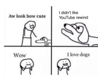 Cute, Dogs, and Love: l didn't like  YouTube rewind  Aw look how cute  Wow  I love dogs What a wonderful doggo