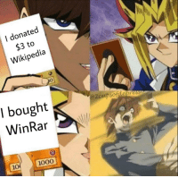 Did you pay for WinRar?: l donated  $3 to  Wikipedia  0  I bought  WinRar  2  ress  10  1000 Did you pay for WinRar?