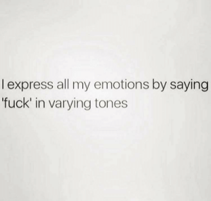 Meirl by Noobyrubix FOLLOW 4 MORE MEMES.: l express all my emotions by saying  'fuck' in varying tones Meirl by Noobyrubix FOLLOW 4 MORE MEMES.