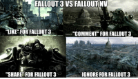 "The vote is on!  (OC) and just a joke :p: L FALLOUT 3 VS FALLOUT NV  ""LIKE FOR FALLOUT 3  ""COMMENT FOR FALLOUT 3  IGNORE FOR FALLOUT 3  ""SHARE FOR FALLOUT 3 The vote is on!  (OC) and just a joke :p"