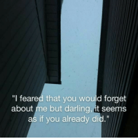 "Did, Darling, and You: ""l feared that you would forget  about me but darling, it seems  as if you already did."""