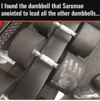 Only LOTR fans will get this 😜 . @DOYOUEVEN 👈🏼 10% OFF STOREWIDE + NEW RELEASE! 🎉 use code DYE10 ✔️ link in BIO: l found the dumbbell that Saruman  anointed to lead all the other dumbbells... Only LOTR fans will get this 😜 . @DOYOUEVEN 👈🏼 10% OFF STOREWIDE + NEW RELEASE! 🎉 use code DYE10 ✔️ link in BIO