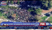 "Protests in #CALIFORNIA aka #CalExit calling for state to secede are breaking out by the ""Tolerant Left""? Damn sore losers! Join the movement that counts at www.Bikers4Trump.com: L I V E  FOX10 LIVE: STUDENTS PROTEST ELECTION  Fox 10 N  S 12:26 81  Students walk out in a protest over last night's election results in CA  PARTLY CLOUDY 66  Fox 10  CHICAGO: PARTLY CLOUDY 57  FOX10  WEATHER Protests in #CALIFORNIA aka #CalExit calling for state to secede are breaking out by the ""Tolerant Left""? Damn sore losers! Join the movement that counts at www.Bikers4Trump.com"