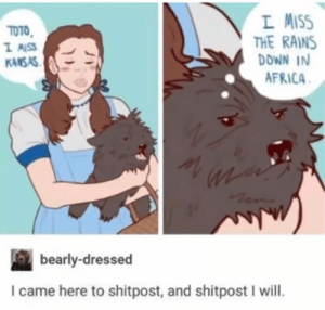 Africa, I Came, and Toto: L MISS  THE RAINS  DOWN IN  AFRICA  TOTO  I AISS  KANSAS  bearly-dressed  I came here to shitpost, and shitpost I will. I came to shitpost. And shitpost I will