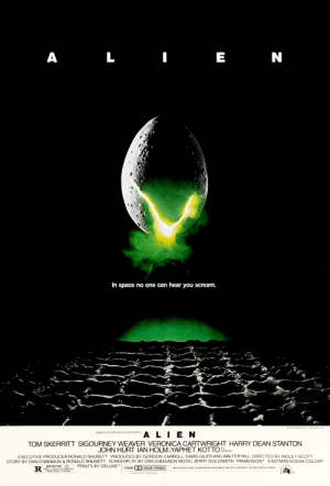 "Music, Scream, and Alien: L  N  In space no one can hear you scream.  1979 TWENT ETH CENTURY FOx  TWENTIETH CENTURY FOX PRESENTS  ALIEN  TOM SKERRITT SIGOURNEY WEAVER VERONICA CARTWRIGHT HARRY DEAN STANTON  JOHN HURT IAN HOLM YAPHET KOTTO  AS  PARKER  EXECUTIVE PRODUCER RONALD SHUSETT PRODUCED BY GORDON CARROLL, DAVID GILER AND WALTER HILL DIRECTED BY RIDLEY SCOTT  STORY BY DAN O'BANNON & RONALD SHUSETT SCREENPLAY BY DAN O'BANNON MUSIC JERRY GOLDSMITH PANAVISION EASTMAN KODAK COLOR  PRINTS BY DELUXE  RESTRICTED  70MM D  MOTION PICTURE SOUNDTRACK AVAILABLE ON 20TH CENTURY FOX RECORDS & TAPES  DOLBY STEREO  UNDER IT REOURES ACCOMPINYNG  PARENT OR ARULT EUARD AN  IN SELECTED THEATRES This 1979 movie is titled ""Alien"". This is a nod to the fact that the movie is about an alien."