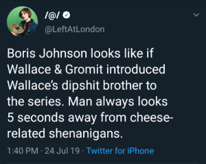 Iphone, Shenanigans, and Twitter: l@/O  @LeftAtLondon  Boris Johnson looks like if  Wallace & Gromit introduced  Wallace's dipshit brother to  the series. Man always looks  5 seconds away from cheese-  related shenanigans.  1:40 PM 24 Jul 19 Twitter for iPhone Best take I've heard all day