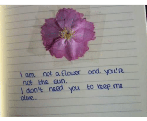 Flower, You, and Done: l om not a Flower and yau'R  not the eun  I don'e naed  aluve  you to keep me.