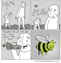 Dad, News, and Good: L ook dad  A BEE!  Quick.. qet  me a ro lled  V1C  p news paper D  Thanks for all you do  for this  planet little  bee  0  www.lunarbaboon.com Good guy bee
