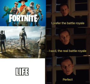MeIrl by zSleepWalkerz MORE MEMES: l prefer the battle royale  l said, the real battle royale  LIFE  Perfect MeIrl by zSleepWalkerz MORE MEMES
