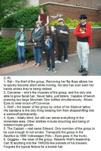 Fedora, Friends, and Love: (L-R)  1. Rat the thief of the group. Removing her flip-flops allows her  to quickly become silent while moving. No-one has ever seen her  hands unless they're being robbed.  2. Converse - she's the muscles of the group, and the only one  able to grow facial hair. Never talks, just listens. Capable of bench  pressing two large Mountain Dew bottles simultaneously. Allows  Eyes to wear knock-off Converse.  3. Wolf the leader of the group by virtue of his Slipknot tattoo  His bandana is the only thing keeping him from shapeshifting into  a werewolf permanently.  4. Eyes totally blind, but still can sense everything in the  immediate area. Other abilities include slouching and being of  indeterminate gender.  5. The Captain real name Edward. Only member of the group to  be cool enough to not smoke. Transports the group in the  Nautilus (a 1990 Volkswagen Polo Eyes goes in the trunk).  6. Goggles - the loner of the group. Resents Wolf's leadership.  Can fit anything into the TARDIS-like pockets of his trousers.  Forgoes the typical fedora for a bowler hat. redrepose:  sir-scandalous:  I love them!!   we need to make less fun of kids being friends and have more reactions like this