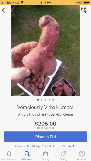 9/11, Food, and Fresh: l Spark NZ  9:11 PM  100%  Veraciously Virile Kumara  A truly triumphant tuber-truncheon  $205.00  Reserve Met  Place a Bid  Closes: Fri 19 Apr 7:30 PM  46 bids>  Notifications  Discover  Buying  Selling  Account This auction listing in NZ (kumara = sweet potato). See listing here: https://www.trademe.co.nz/home-living/food-beverage/fresh-produce/auction-2020456991.htm