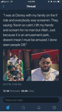 """Blackpeopletwitter, Disney, and Family: l Sprint LTE  1:45 PM  Thread  """"I was at Disney with my family on the li'  ride and everybody was screamin. They  saying 'Kevin so calm, I lift my hands  and scream for no man but Allah. Just  because it is an amusement park,  doesnt mean I must be amused. I done  seen people DIE""""  9/17/18, 5:56 PM  12.3K Retweets 26.8K Likes  Tweet your reply"""