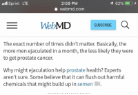 .l Sprint LTE  2:59 PM  A webmd.com  WebMD SOE  SUBSCRIBE  The exact number of times didn't matter. Basically, the  more men ejaculated in a month, the less likely they were  to get prostate cancer.  Why might ejaculation help prostate health? Experts  aren't sure. Some believe that it can flush out harmful  chemicals that might build up in semen.