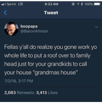 "This got me all fucked up: l Sprint LTE  9:33 AM  Tweet  boopapa  @BaronAhmon  Fellas y'all do realize you gone work yo  whole life to put a roof over to family  head just for your grandkids to call  your house ""grandmas house""  7/3/18, 3:17 PM  2,083 Retweets 3,413 Likes This got me all fucked up"