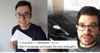 here in my garage: -l Swautistics1814 points 1 day ago  Here in my garage, just bought this new Lamborghini