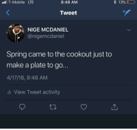 Blackpeopletwitter, T-Mobile, and Mobile: l T-Mobile LTE  8:48 AM  * 13%  0  ,  Tweet  NIGE MCDANIEL  @nigemcdaniel  Spring came to the cookout just to  make a plate to go  4/17/18, 8:48 AM  li View Tweet activity <p>Spring is that person that doesn't bring anything and leaves early&hellip;with two plates (via /r/BlackPeopleTwitter)</p>