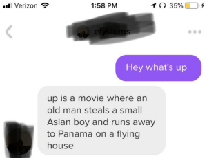 But response I've ever gotten: l Verizon  1:58 PM  35%  elysiums  Hey what's up  up is a movie where an  old man steals a small  Asian boy and runs away  to Panama on a flying  house But response I've ever gotten