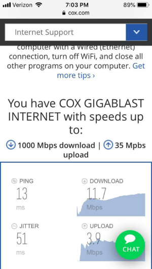 Internet, Verizon, and Chat: l Verizon  7:03 PM  89%  COx.com  Internet Support  V  computer  With a wired (Ethernet)  connection, turn off WiFi, and close all  other programs on your computer. Get  more tips>  You have COX GIGABLAST  INTERNET with speeds up  to:  35 Mpbs  1000 Mbps download |  upload  PING  DOWNLOAD  13  11.7  Mbps  ms  JITTER  UPLOAD  51  3.9  CHAT  Mbps  ms Suck my cox