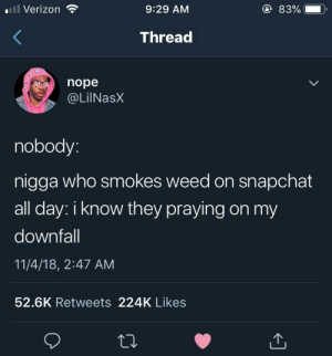 Snapchat, Verizon, and Weed: l Verizon  9:29 AM  83%  ),  Thread  nope  @LilNasX  nobody  nigga who smokes weed on snapchat  all day: i know they praying on my  downfall  11/4/18, 2:47 AM  52.6K Retweets 224K Likes We all kno one