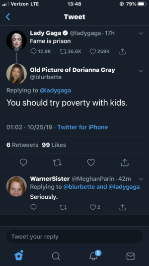 Shoot! Take me to jail!: l Verizon LTE  79%  13:48  Tweet  Lady Gaga  Fame is prison  @ladygaga 17h  12.9K  2136.6K  259K  Old Picture of Dorianna Gray  @blurbette  Replying to @ladygaga  You should try poverty with kids.  01:02 10/25/19 Twitter for iPhone  6 Retweets 99 Likes  WarnerSister @MeghanParin 42m  Replying to @blurbette and @ladygaga  Seriously.  2  Tweet your reply  6 Shoot! Take me to jail!