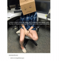 Bad Jokes, Boxing, and Memes: l visited a friend at her fab today Her coworkers make people wear  The Box of Shame when they tell bad jokes or ask stupid questions.  tastefully offensive  (photo via kingofthekongo) funny work meme stupid