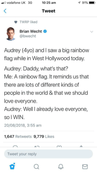 Love, Saw, and Rainbow: l vodafone UK 3G  10:25 am  91% i  Tweet  TWRP liked  Brian Wecht  bwecht  Audrey (4yo) and I saw a big rainbow  flag while in West Hollywood today.  Audrey: Daddy, what's that?  Me: A rainbow flag. It reminds us that  there are lots of different kinds of  people in the world & that we should  love everyone  Audrey: Well I already love everyone,  So I WIN  20/08/2018, 3:55 am  1,647 Retweets 9,779 Likes  Tweet your reply This kids going places fast. Wholesome places, that is. via /r/wholesomememes https://ift.tt/2MFxTX7