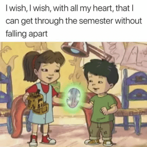 Falling Apart: l wish, I wish, with all my heart, that I  can get through the semester without  falling apart