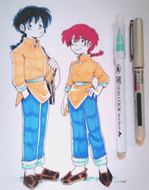 buffycake:  Drew Ranma in Horikoshi's style, might do more cause it was a lot of fun to do!: L011 *!  Kuretake  FUDEGOKOCH  ZIG CLEAN COLOR Real Brush W buffycake:  Drew Ranma in Horikoshi's style, might do more cause it was a lot of fun to do!
