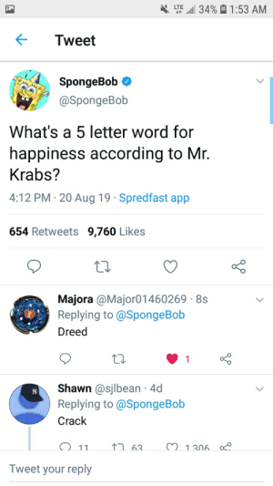 Twitters great: l34%1:53 AM  LTE  4t  Tweet  SpongeBob  @SpongeBob  What's a 5 letter word for  happiness according to Mr.  Krabs?  4:12 PM 20 Aug 19 Spredfast app  654 Retweets 9,760 Likes  Majora @Major01460269 8s  Replying to @SpongeBob  Dreed  1  Shawn @sjlbean 4d  Replying to @SpongeBob  Crack  M 1306.  63  11  Tweet your reply Twitters great