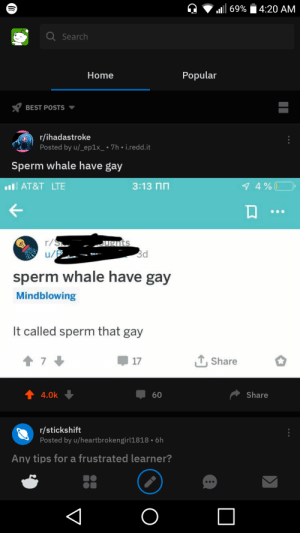 I FUCKING DID IT: l69%  4:20 AM  Search  Popular  Home  BEST POSTS  r/ihadastroke  Posted by u/_ep1x_ 7h ° i.redd.it  Sperm whale have gay  3:13 N  1 4%  lAT&T LTE  r/S  u/P  ugnts  3d  sperm whale have gay  Mindblowing  It called sperm that gay  TShare  7  17  4.0k  Share  60  r/stickshift  Posted by u/heartbrokengirl1818 6h  Any tips for a frustrated learner?  O I FUCKING DID IT