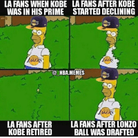 After all the trades and free agency so far do you think the lakers have a chance in the west? Comment your thoughts down below! 👇🏼👇🏼 - Drop a like!👆🏼👆🏼👆🏼 - Follow (me) @sportscomedyy for more!!: LA FANS WHEN KOBE  WAS IN HIS PRIME  LA FANS AFTER KOBE  STARTED DECLINING  RS  KEKS  NBA.MEMES  AKERS  AKERS  LA FANS AFTER  KOBE RETIRED  LA FANS AFTER LONZO  BALL WAS DRAFTED After all the trades and free agency so far do you think the lakers have a chance in the west? Comment your thoughts down below! 👇🏼👇🏼 - Drop a like!👆🏼👆🏼👆🏼 - Follow (me) @sportscomedyy for more!!