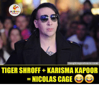 Nicolas Cage, Indianpeoplefacebook, and Karisma Kapoor: LA GHNG  Colours  laughing colours.com  TIGERSHROFF KARISMA KAPOOR  NICOLAS CAGE ROFL.. :D ;)