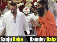 Baba, Indianpeoplefacebook, and Com: LA  laughing colours com  Sanju Baba  Ramdev Baba Baba's from different fields 😀😀