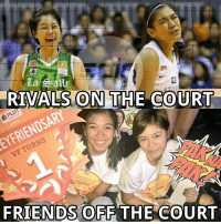 Friends, Rivals, and Volleyball: La Salle  RIVALS ON  THE COURT  FRIENDS OFF THE COURT Rivals on the court, friends off the court. :like: