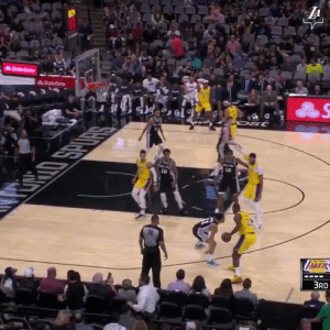 LeBron with his 5th 30 & 10 performance in 17 games!   33 PTS (4-7 3PT) 14 AST (3 TO)  https://t.co/7LHq0P41vg: LA  State Farm  StateFarm  Ost  10  RRIO SPURS  74  ZAKERS  3RD LeBron with his 5th 30 & 10 performance in 17 games!   33 PTS (4-7 3PT) 14 AST (3 TO)  https://t.co/7LHq0P41vg