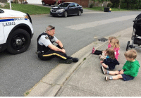 """All Lives Matter, Children, and Memes: LA3043 Repost from @bluelineofcourage """"I run a licenced daycare in Murrayville — Gigglez & Grinz Daycare. My kiddos and I were walking home from our morning school drop-off and we saw a police car coming.The kids get so excited when they see our local heroes, and even more excited when they can get a wave out of them.Well, Langley RCMP Constable Joel Shoihet went above and beyond. Not only did he wave to the children, he pulled over, got out of his police car to say hi and sat on the road to chat with them. He made them all feel so special.The world needs more kind-hearted people like this. People who go out of their way to make our children feel special and safe are so valuable.This will be a forever memory for these kids, and something I'm sure they will brag about forever. It was the day they had circle time on the sidewalk with a hero."""" - Amber Watt police cop cops thinblueline lawenforcement policelivesmatter supportourtroops BlueLivesMatter AllLivesMatter brotherinblue bluefamily tbl thinbluelinefamily sheriff policeofficer backtheblue"""