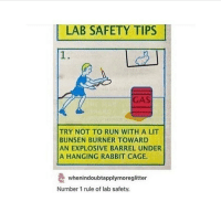 Tumblr, Rabbits, and Caging: LAB SAFETY TIPS  I  TRY NOT TO RUN WITH A LIT  BUNSEN BURNER TOWARD  AN EXPLOSIVE BARREL UNDER  A HANGING RABBIT CAGE.  e whenindoubtapplymoreglitter  Number 1 rule of lab safety. i just choked on water ??